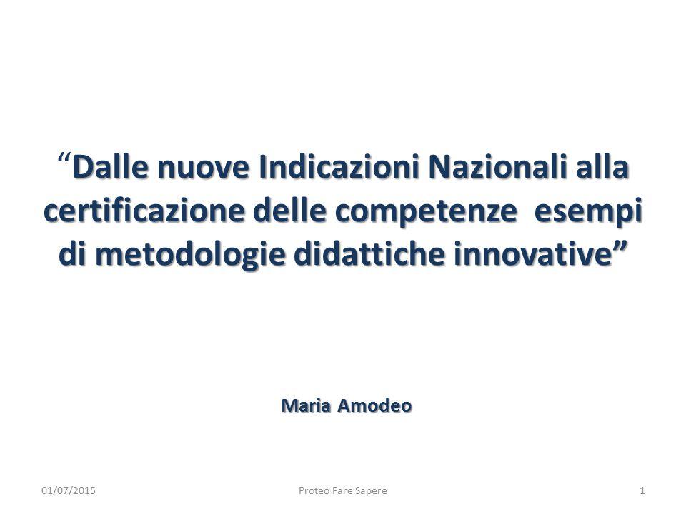"""Dalle nuove Indicazioni Nazionali alla certificazione delle competenze esempi di metodologie didattiche innovative"""" """" Dalle nuove Indicazioni Nazional"""