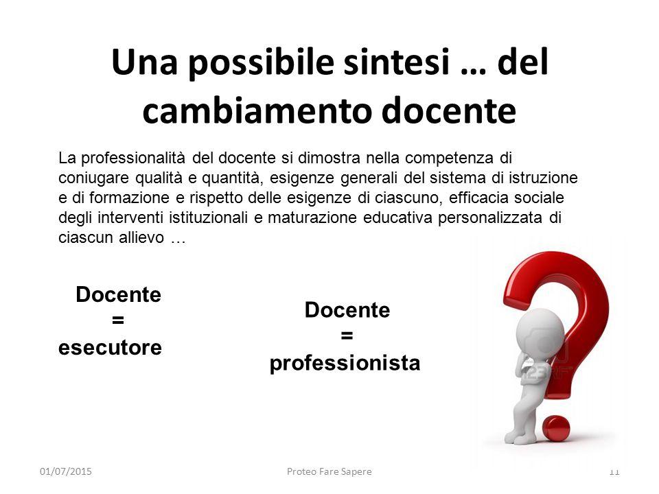 Una possibile sintesi … del cambiamento docente 01/07/2015Proteo Fare Sapere11 La professionalità del docente si dimostra nella competenza di coniugar