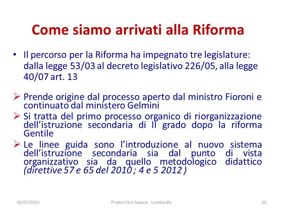 Come siamo arrivati alla Riforma Il percorso per la Riforma ha impegnato tre legislature: dalla legge 53/03 al decreto legislativo 226/05, alla legge