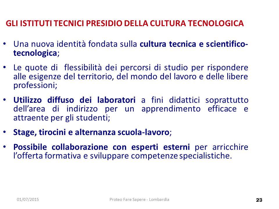 23 01/07/2015Proteo Fare Sapere - Lombardia23 GLI ISTITUTI TECNICI PRESIDIO DELLA CULTURA TECNOLOGICA Una nuova identità fondata sulla cultura tecnica