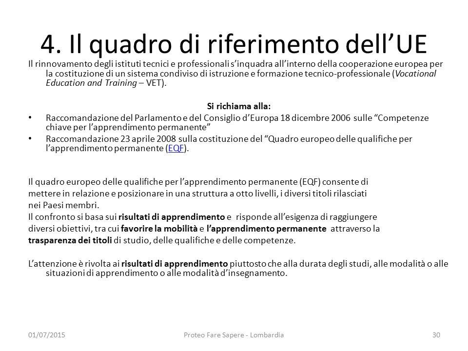 4. Il quadro di riferimento dell'UE Il rinnovamento degli istituti tecnici e professionali s'inquadra all'interno della cooperazione europea per la co