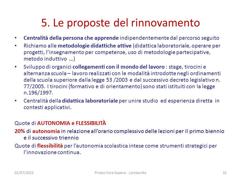 5. Le proposte del rinnovamento Centralità della persona che apprende indipendentemente dal percorso seguito Richiamo alle metodologie didattiche atti