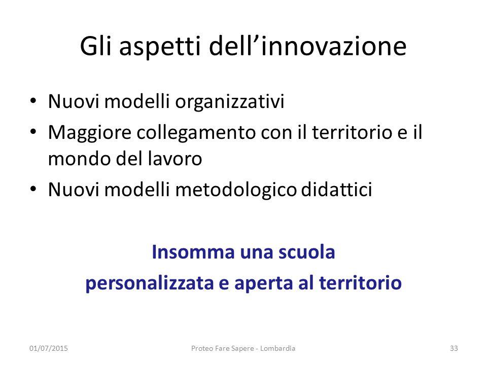 Gli aspetti dell'innovazione Nuovi modelli organizzativi Maggiore collegamento con il territorio e il mondo del lavoro Nuovi modelli metodologico dida