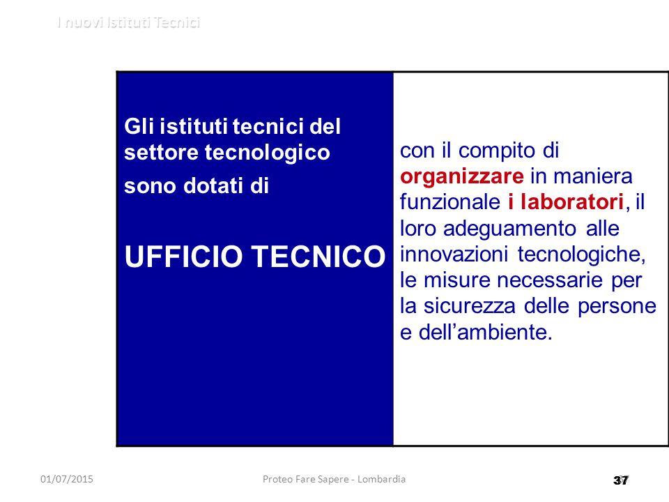 37 I nuovi Istituti Tecnici 01/07/2015Proteo Fare Sapere - Lombardia37 Gli istituti tecnici del settore tecnologico sono dotati di UFFICIO TECNICO con
