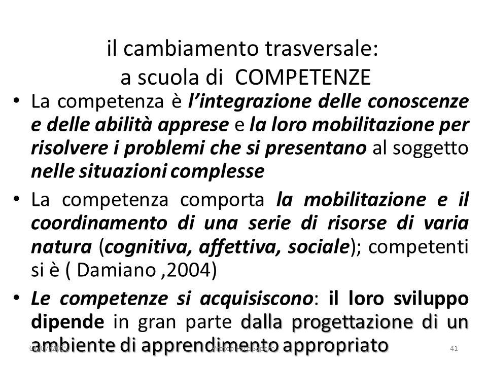 il cambiamento trasversale: a scuola di COMPETENZE La competenza è l'integrazione delle conoscenze e delle abilità apprese e la loro mobilitazione per
