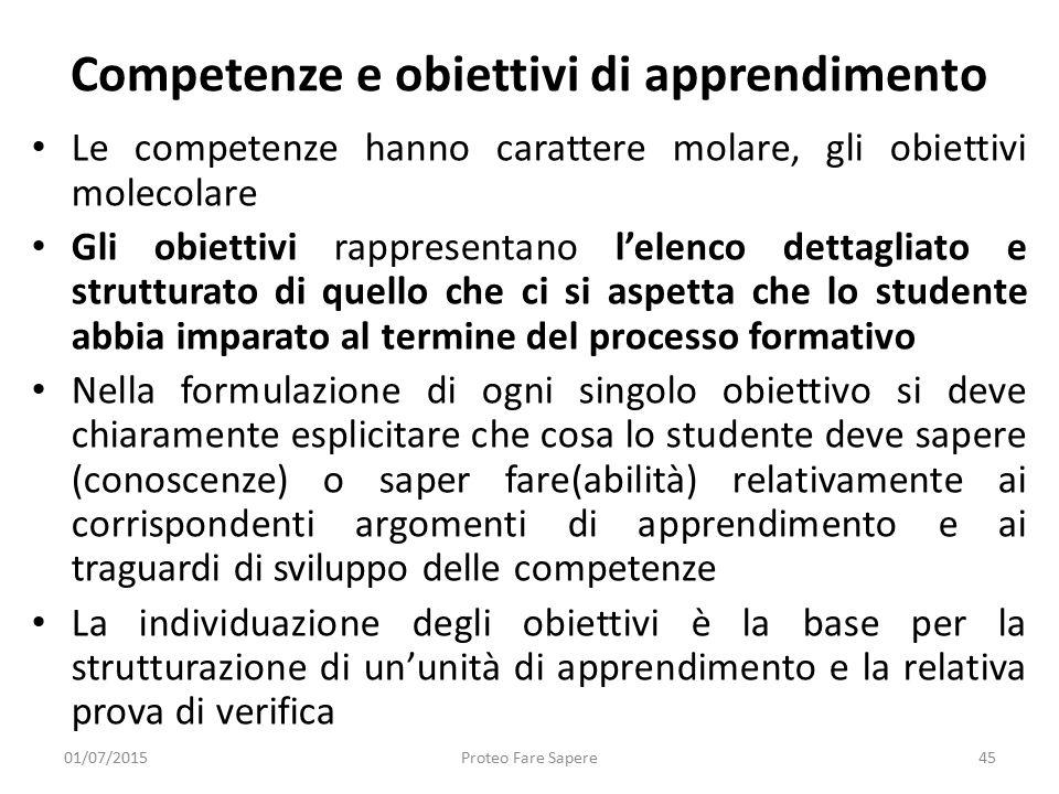 Competenze e obiettivi di apprendimento Le competenze hanno carattere molare, gli obiettivi molecolare Gli obiettivi rappresentano l'elenco dettagliat
