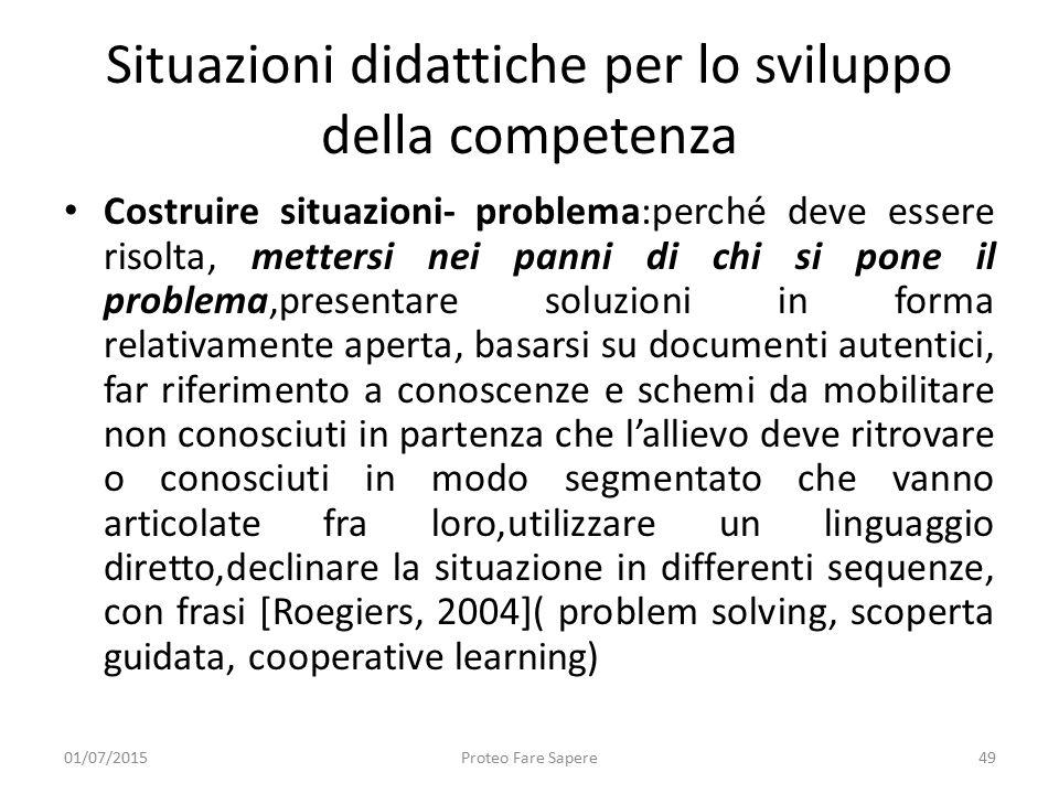 Situazioni didattiche per lo sviluppo della competenza Costruire situazioni- problema:perché deve essere risolta, mettersi nei panni di chi si pone il