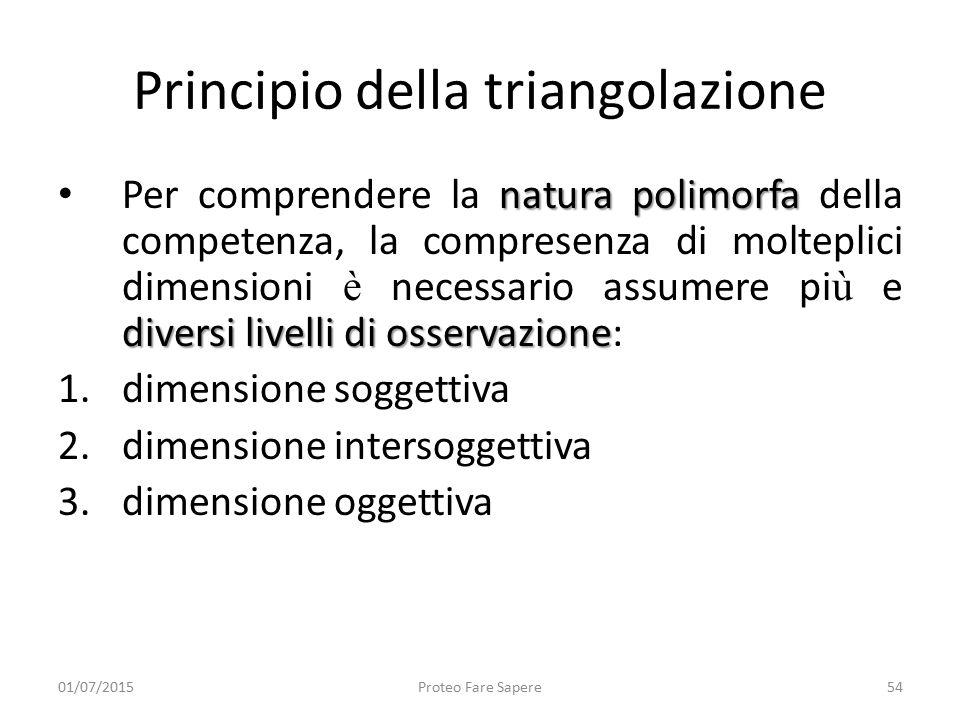 Principio della triangolazione natura polimorfa diversi livelli di osservazione Per comprendere la natura polimorfa della competenza, la compresenza d