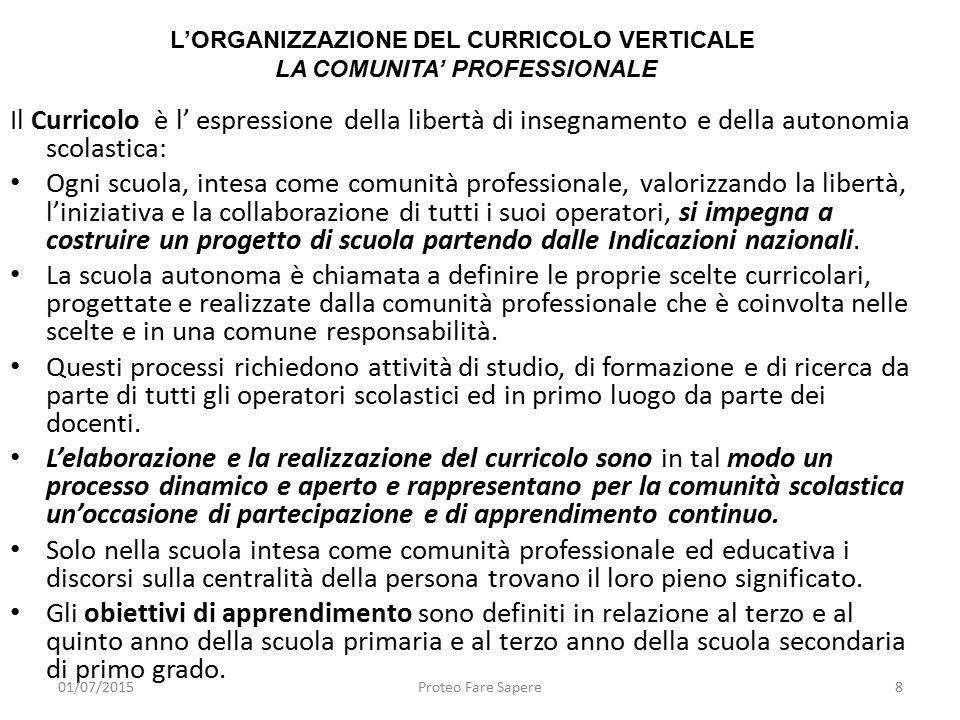 Il Curricolo è l' espressione della libertà di insegnamento e della autonomia scolastica: Ogni scuola, intesa come comunità professionale, valorizzand