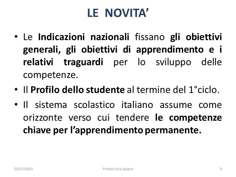 Le Indicazioni nazionali fissano gli obiettivi generali, gli obiettivi di apprendimento e i relativi traguardi per lo sviluppo delle competenze. Il Pr