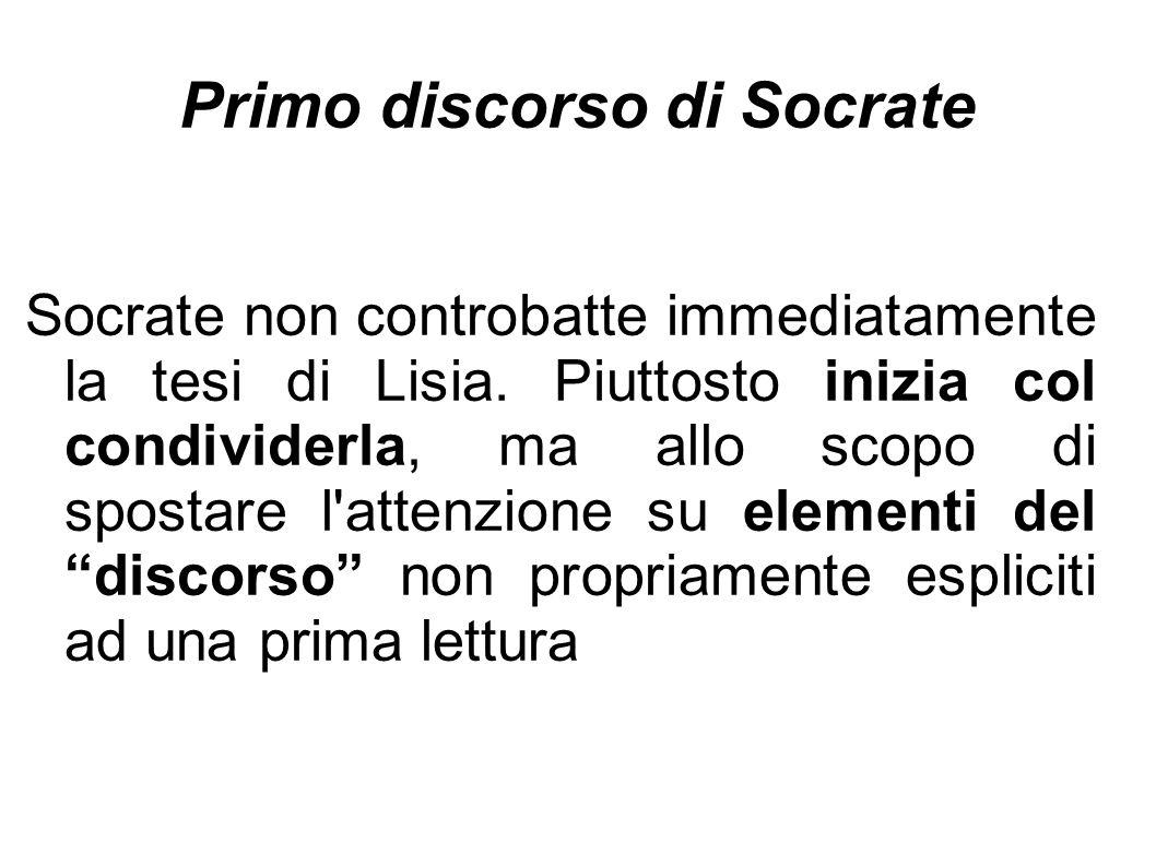 Primo discorso di Socrate Socrate non controbatte immediatamente la tesi di Lisia. Piuttosto inizia col condividerla, ma allo scopo di spostare l'atte