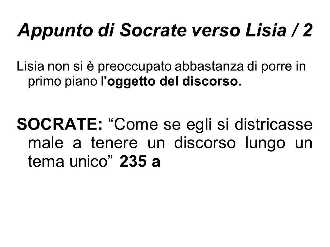 """Appunto di Socrate verso Lisia / 2 Lisia non si è preoccupato abbastanza di porre in primo piano l'oggetto del discorso. SOCRATE: """"Come se egli si dis"""