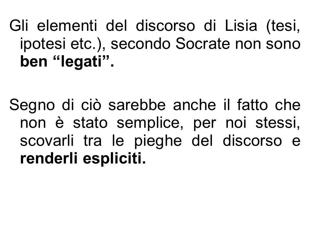 """Gli elementi del discorso di Lisia (tesi, ipotesi etc.), secondo Socrate non sono ben """"legati"""". Segno di ciò sarebbe anche il fatto che non è stato se"""