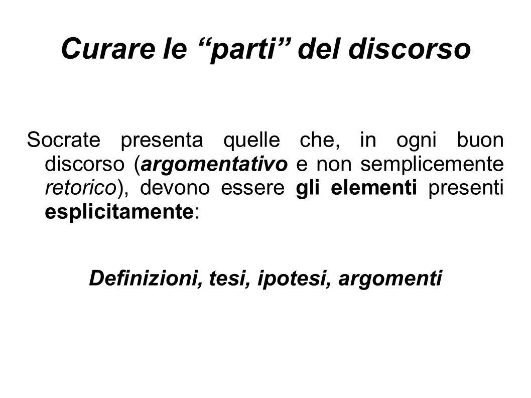 """Curare le """"parti"""" del discorso Socrate presenta quelle che, in ogni buon discorso (argomentativo e non semplicemente retorico), devono essere gli elem"""