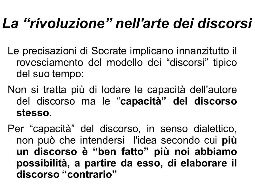"""La """"rivoluzione"""" nell'arte dei discorsi Le precisazioni di Socrate implicano innanzitutto il rovesciamento del modello dei """"discorsi"""" tipico del suo t"""