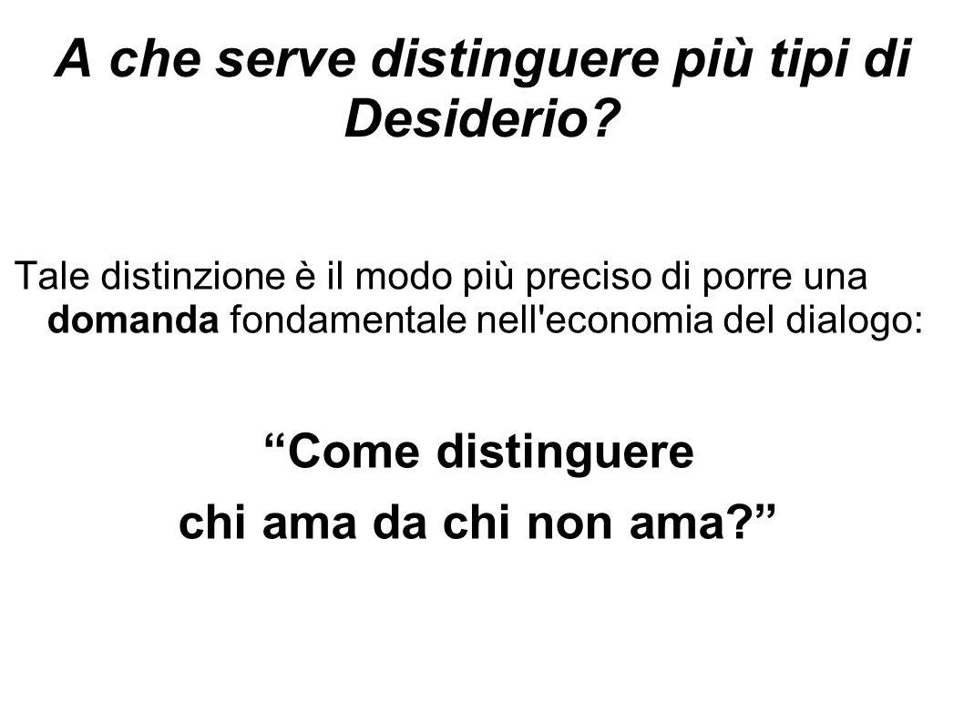"""A che serve distinguere più tipi di Desiderio? Tale distinzione è il modo più preciso di porre una domanda fondamentale nell'economia del dialogo: """"Co"""