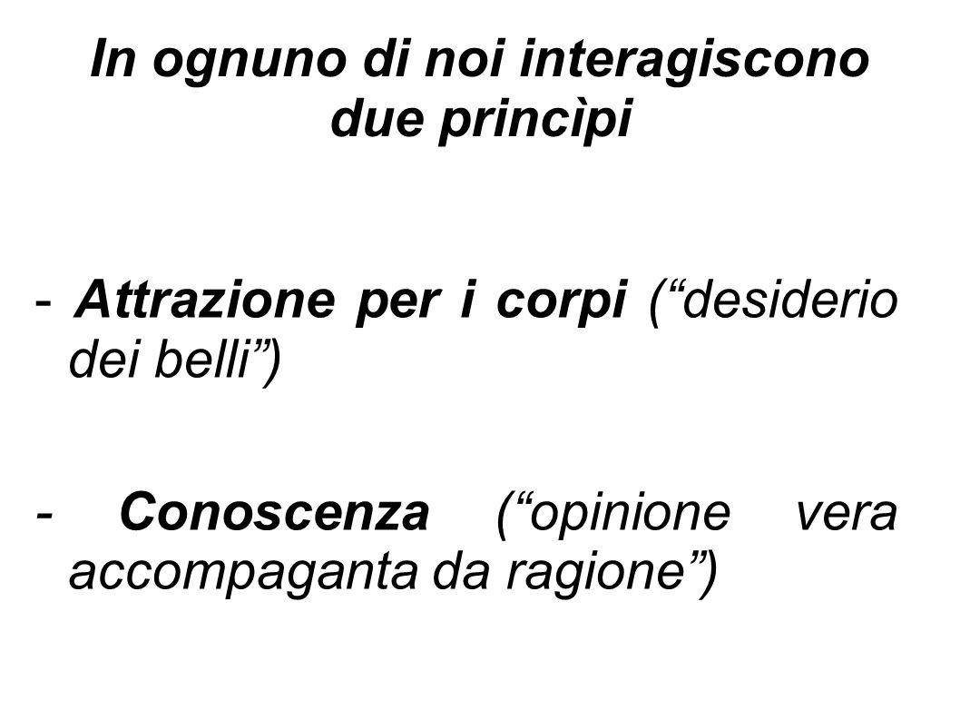 """In ognuno di noi interagiscono due princìpi - Attrazione per i corpi (""""desiderio dei belli"""") - Conoscenza (""""opinione vera accompaganta da ragione"""")"""