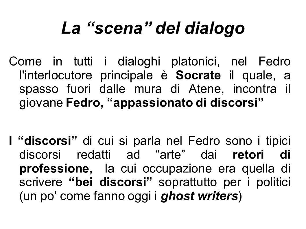 """La """"scena"""" del dialogo Come in tutti i dialoghi platonici, nel Fedro l'interlocutore principale è Socrate il quale, a spasso fuori dalle mura di Atene"""