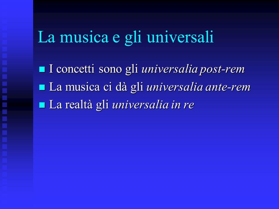 La musica e gli universali I concetti sono gli universalia post-rem I concetti sono gli universalia post-rem La musica ci dà gli universalia ante-rem La musica ci dà gli universalia ante-rem La realtà gli universalia in re La realtà gli universalia in re