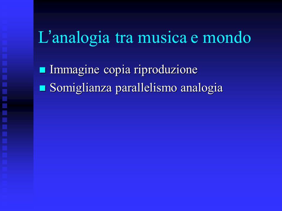 L ' analogia tra musica e mondo Immagine copia riproduzione Immagine copia riproduzione Somiglianza parallelismo analogia Somiglianza parallelismo analogia