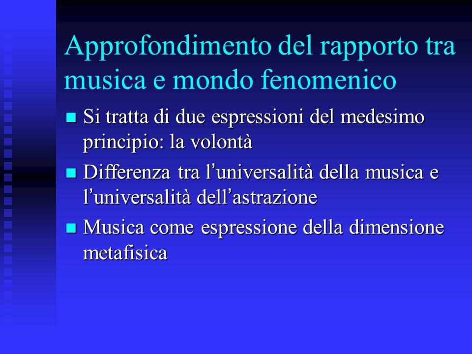 Approfondimento del rapporto tra musica e mondo fenomenico Si tratta di due espressioni del medesimo principio: la volontà Si tratta di due espressioni del medesimo principio: la volontà Differenza tra l ' universalità della musica e l ' universalità dell ' astrazione Differenza tra l ' universalità della musica e l ' universalità dell ' astrazione Musica come espressione della dimensione metafisica Musica come espressione della dimensione metafisica