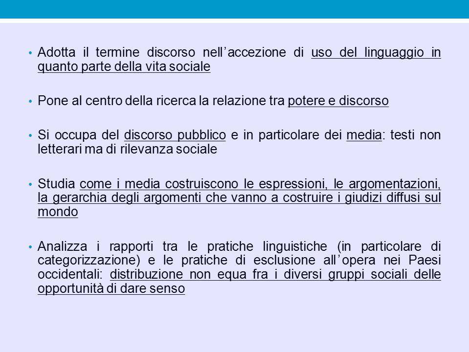 Adotta il termine discorso nell'accezione di uso del linguaggio in quanto parte della vita sociale Pone al centro della ricerca la relazione tra poter