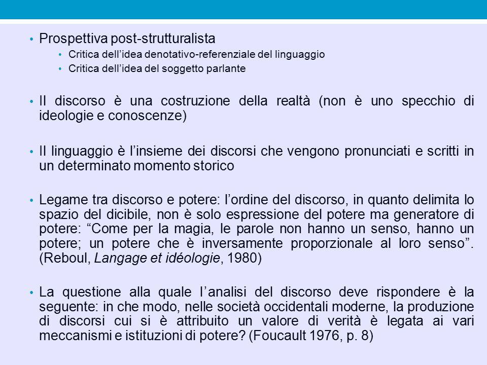 Prospettiva post-strutturalista Critica dell'idea denotativo-referenziale del linguaggio Critica dell'idea del soggetto parlante Il discorso è una cos