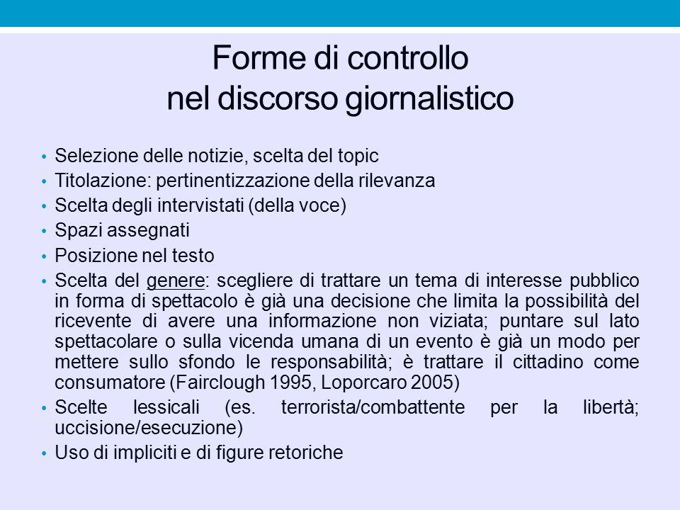 Forme di controllo nel discorso giornalistico Selezione delle notizie, scelta del topic Titolazione: pertinentizzazione della rilevanza Scelta degli i