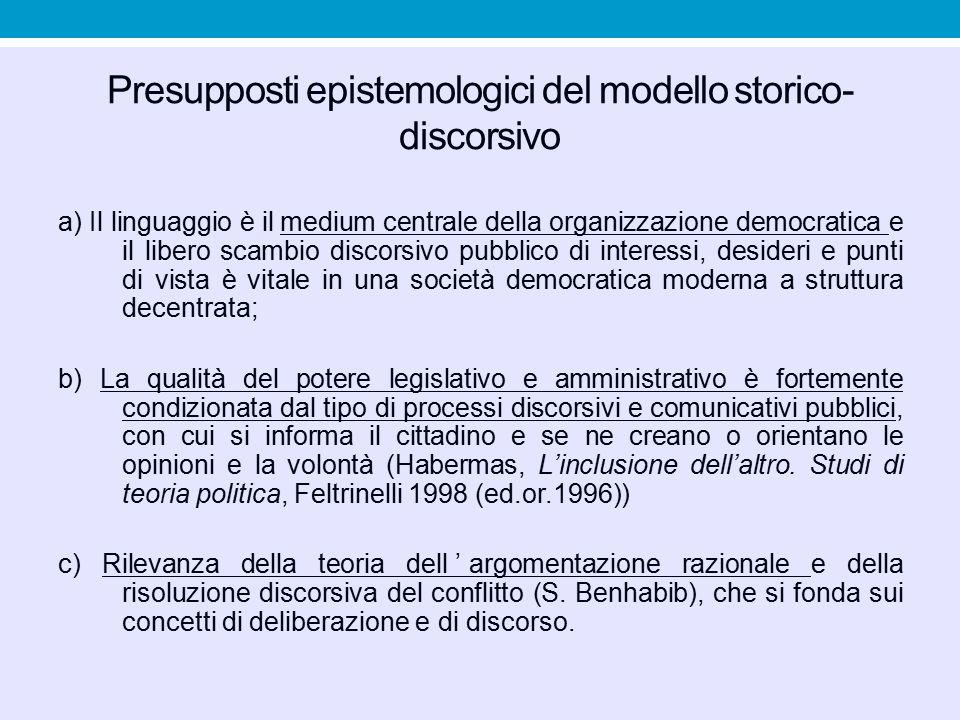 Presupposti epistemologici del modello storico- discorsivo a) Il linguaggio è il medium centrale della organizzazione democratica e il libero scambio