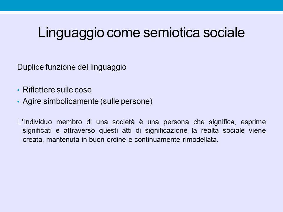Linguaggio come semiotica sociale Duplice funzione del linguaggio Riflettere sulle cose Agire simbolicamente (sulle persone) L'individuo membro di una