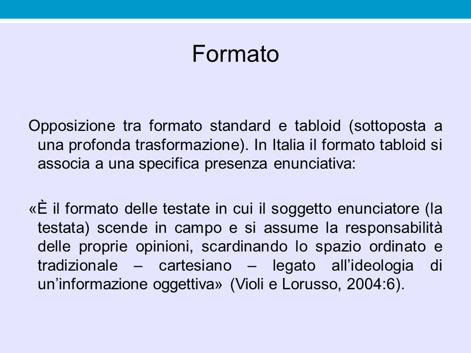 Formato Opposizione tra formato standard e tabloid (sottoposta a una profonda trasformazione). In Italia il formato tabloid si associa a una specifica