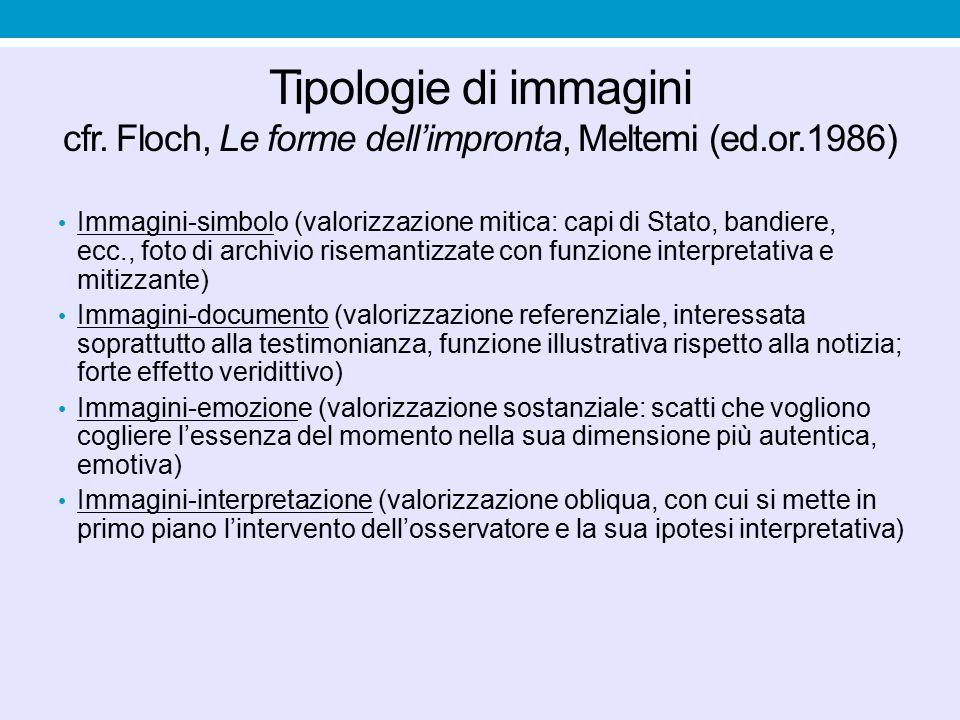 Tipologie di immagini cfr. Floch, Le forme dell'impronta, Meltemi (ed.or.1986) Immagini-simbolo (valorizzazione mitica: capi di Stato, bandiere, ecc.,