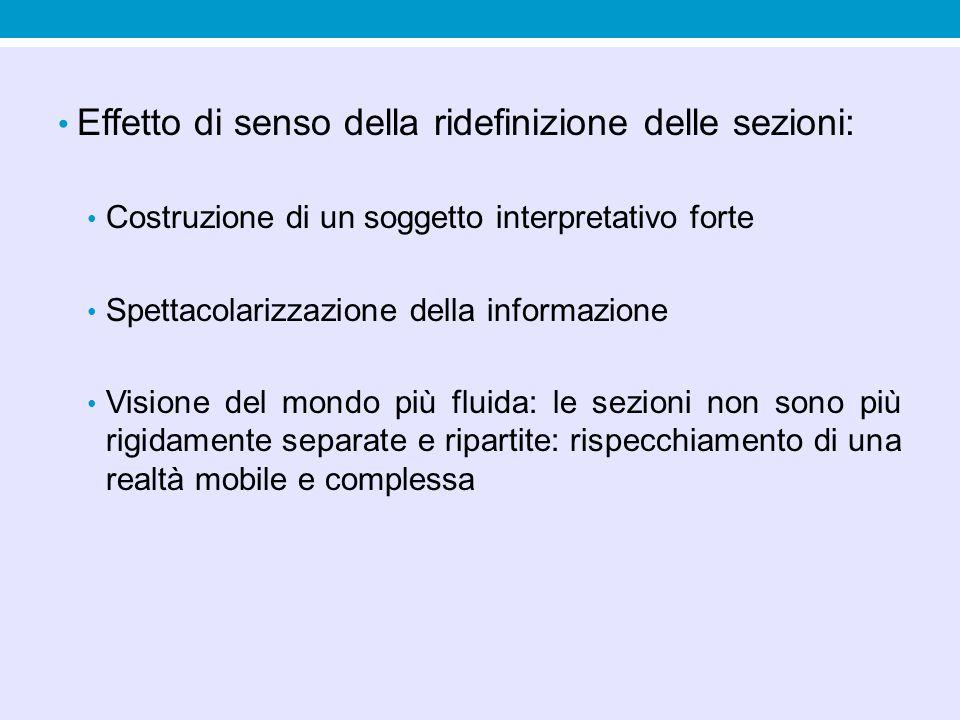 Effetto di senso della ridefinizione delle sezioni: Costruzione di un soggetto interpretativo forte Spettacolarizzazione della informazione Visione de