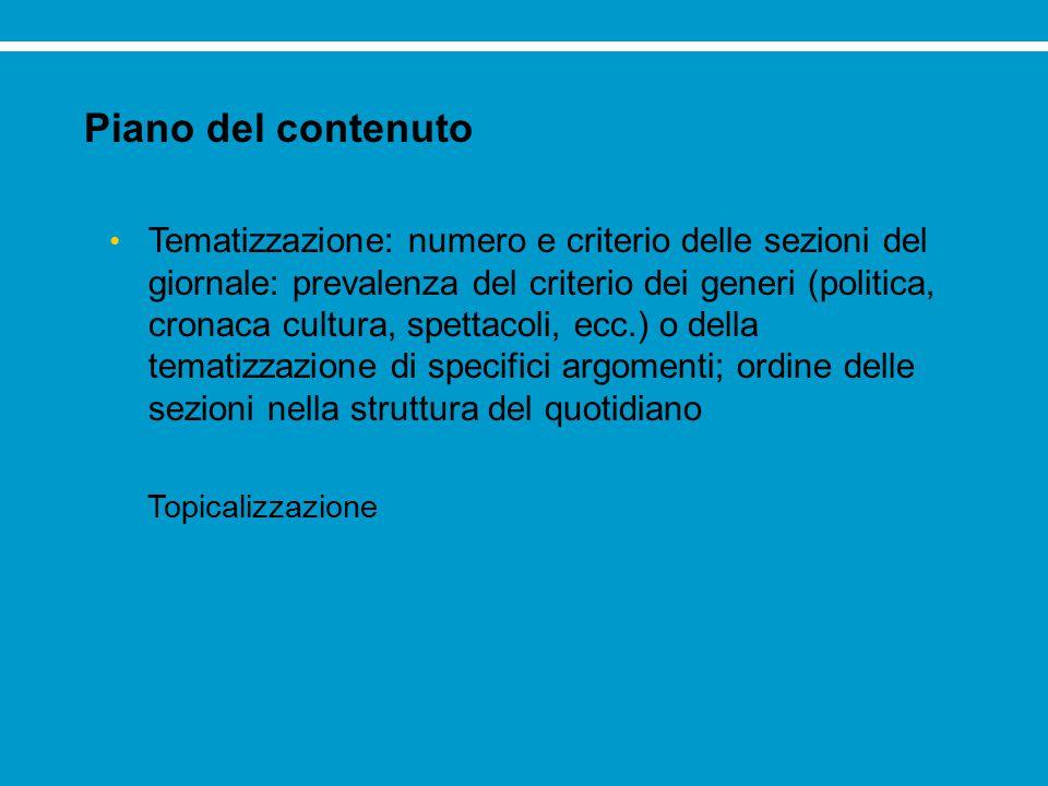 Piano del contenuto Tematizzazione: numero e criterio delle sezioni del giornale: prevalenza del criterio dei generi (politica, cronaca cultura, spett