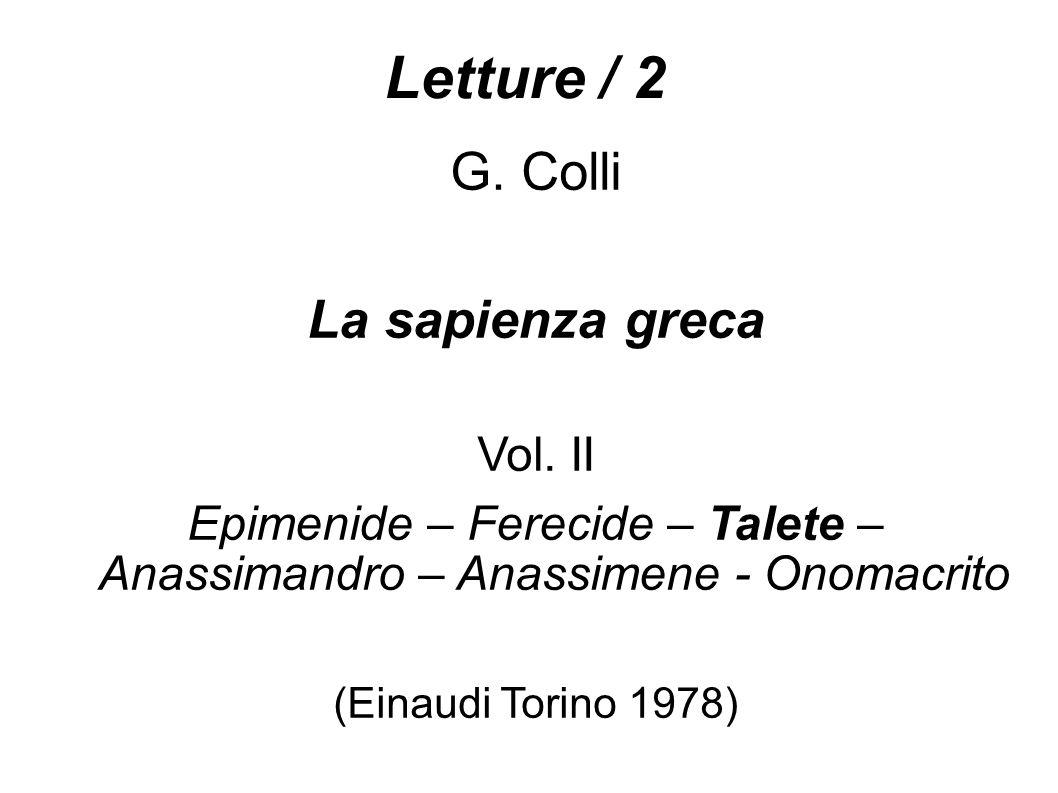 Letture / 2 G.Colli La sapienza greca Vol.