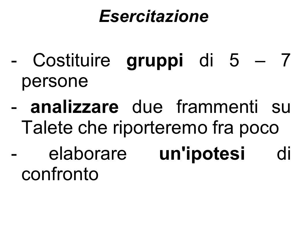 Esercitazione - Costituire gruppi di 5 – 7 persone - analizzare due frammenti su Talete che riporteremo fra poco - elaborare un'ipotesi di confronto