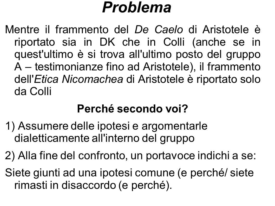 Problema Mentre il frammento del De Caelo di Aristotele è riportato sia in DK che in Colli (anche se in quest'ultimo è si trova all'ultimo posto del g