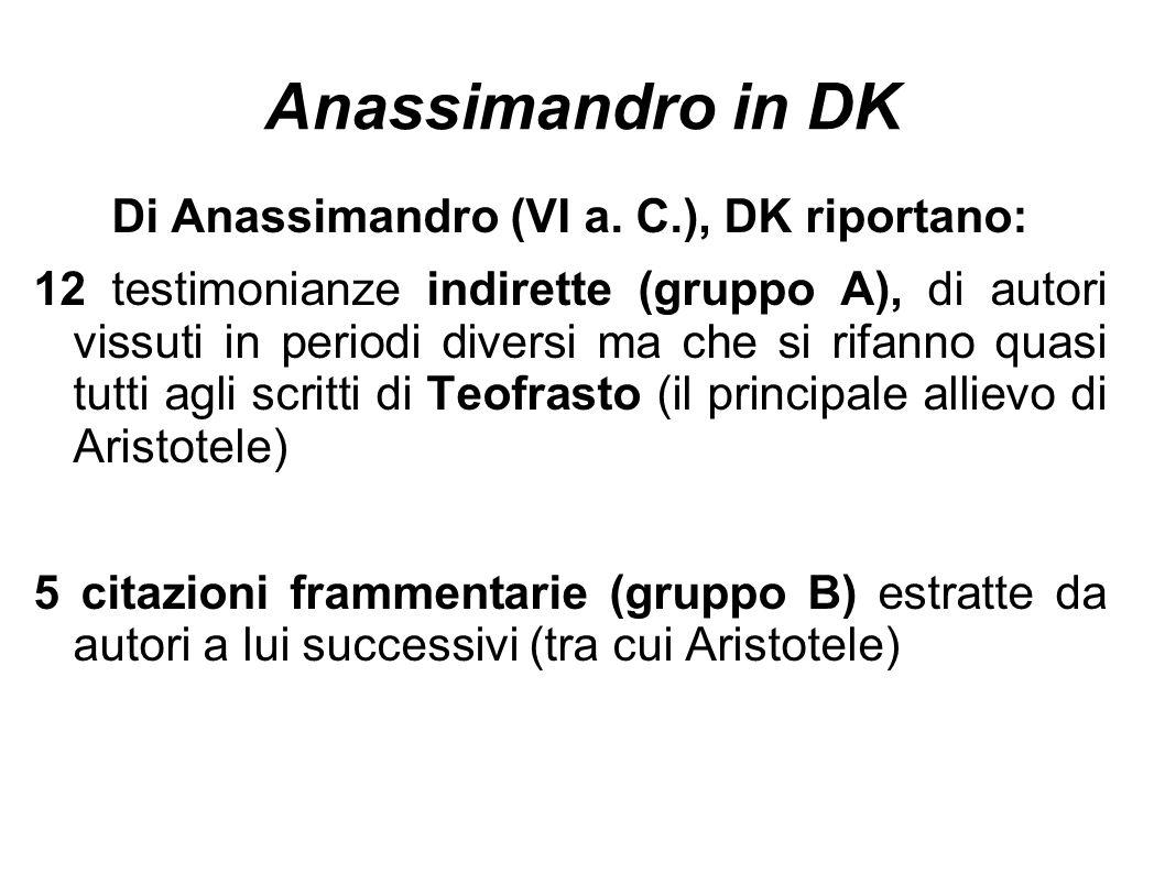 Anassimandro in DK Di Anassimandro (VI a. C.), DK riportano: 12 testimonianze indirette (gruppo A), di autori vissuti in periodi diversi ma che si rif