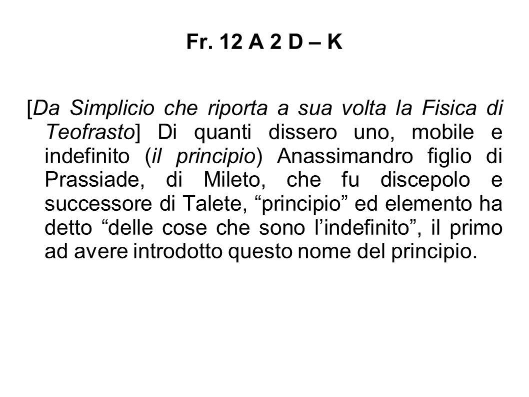 Fr. 12 A 2 D – K [Da Simplicio che riporta a sua volta la Fisica di Teofrasto] Di quanti dissero uno, mobile e indefinito (il principio) Anassimandro