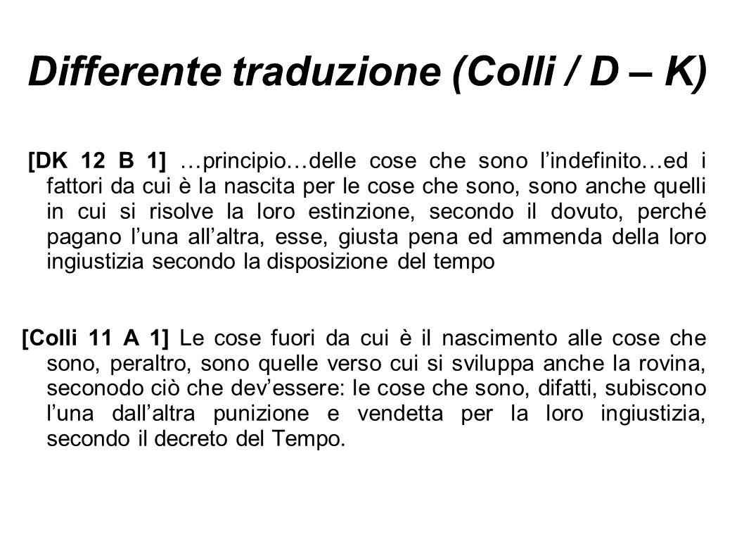 Differente traduzione (Colli / D – K) [DK 12 B 1] …principio…delle cose che sono l'indefinito…ed i fattori da cui è la nascita per le cose che sono, s