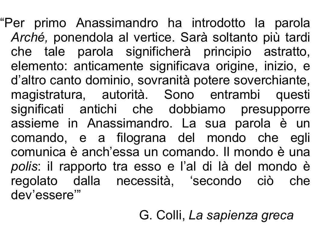 """""""Per primo Anassimandro ha introdotto la parola Arché, ponendola al vertice. Sarà soltanto più tardi che tale parola significherà principio astratto,"""