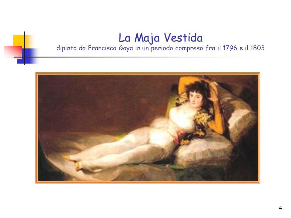 4 La Maja Vestida dipinto da Francisco Goya in un periodo compreso fra il 1796 e il 1803