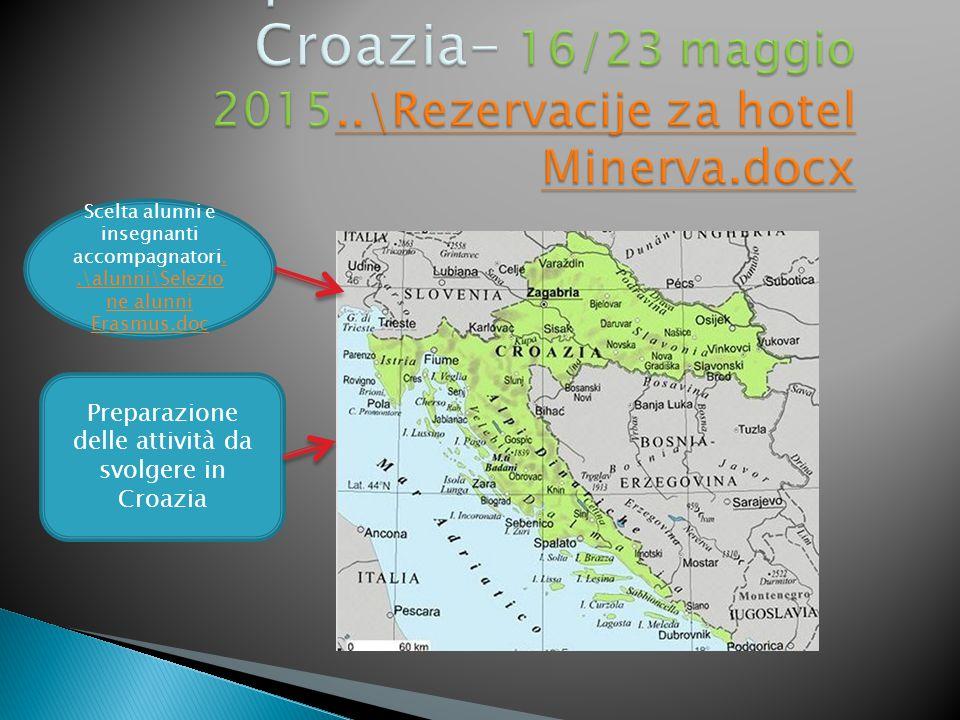 Scelta alunni e insegnanti accompagnatori..\alunni\Selezio ne alunni Erasmus.doc..\alunni\Selezio ne alunni Erasmus.doc Preparazione delle attività da svolgere in Croazia