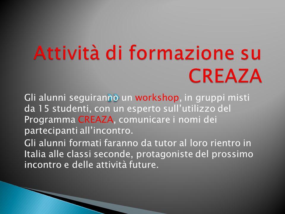Gli alunni seguiranno un workshop, in gruppi misti da 15 studenti, con un esperto sull'utilizzo del Programma CREAZA, comunicare i nomi dei partecipanti all'incontro.