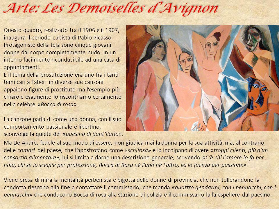 Arte: Les Demoiselles d'Avignon Questo quadro, realizzato tra il 1906 e il 1907, inaugura il periodo cubista di Pablo Picasso. Protagoniste della tela