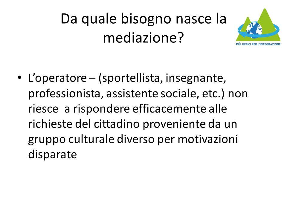 Da quale bisogno nasce la mediazione? L'operatore – (sportellista, insegnante, professionista, assistente sociale, etc.) non riesce a rispondere effic