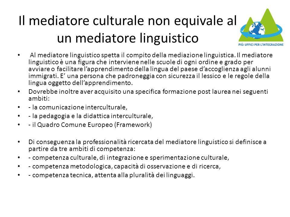 Il mediatore culturale non equivale al un mediatore linguistico Al mediatore linguistico spetta il compito della mediazione linguistica. Il mediatore