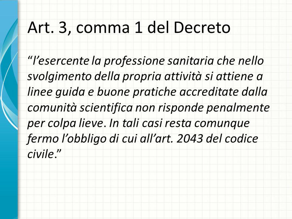 """Art. 3, comma 1 del Decreto """"l'esercente la professione sanitaria che nello svolgimento della propria attività si attiene a linee guida e buone pratic"""