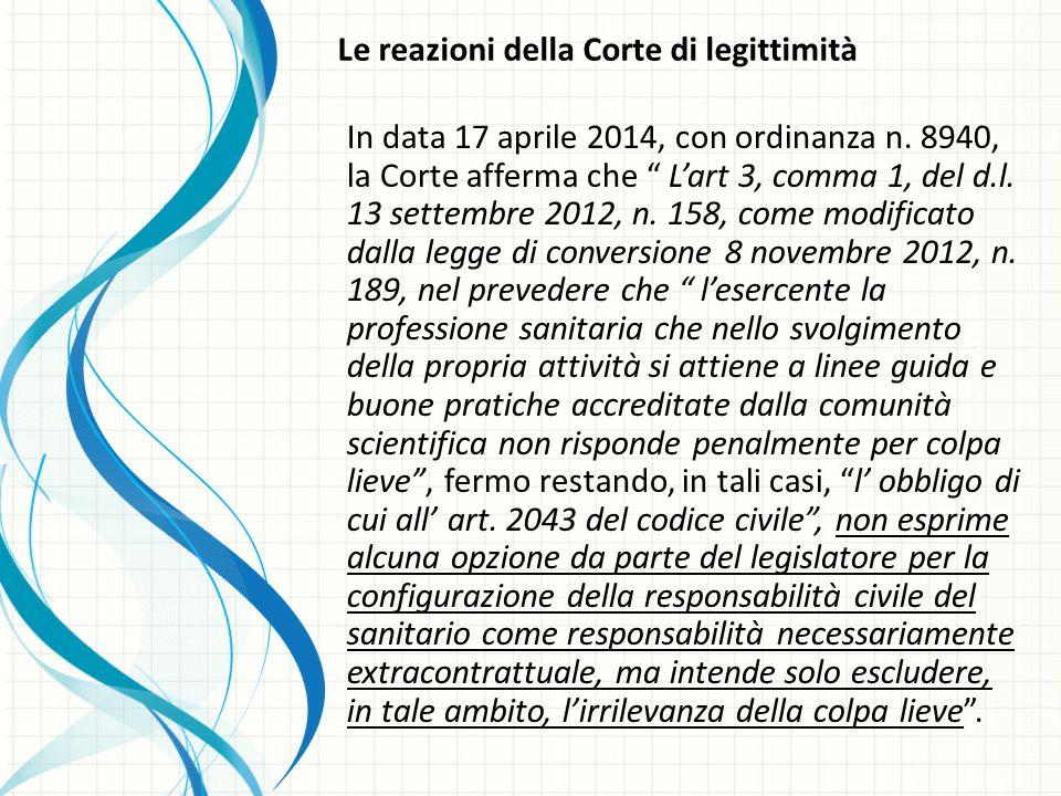 Le reazioni della Corte di legittimità In data 17 aprile 2014, con ordinanza n.