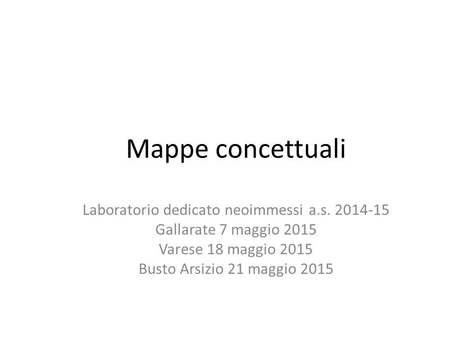 Mappe concettuali Laboratorio dedicato neoimmessi a.s. 2014-15 Gallarate 7 maggio 2015 Varese 18 maggio 2015 Busto Arsizio 21 maggio 2015